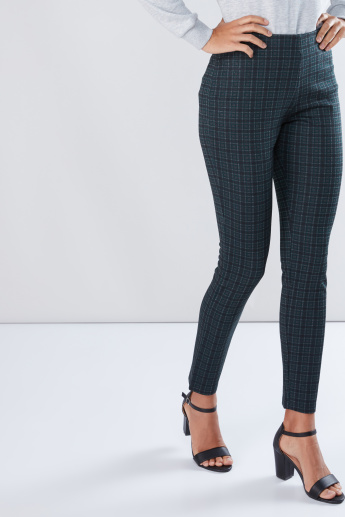 Chequered Pants with Elasticised Waistband