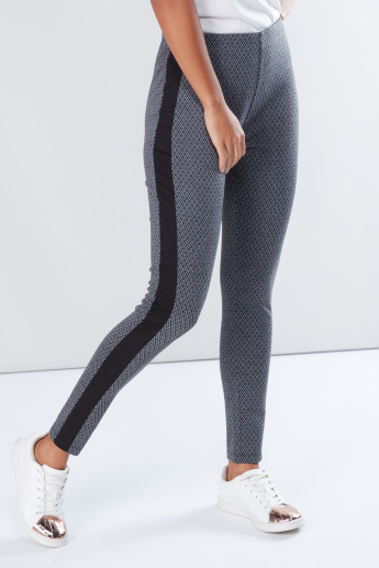 Printed Leggings with Elasticised Waistband and Tape Detail