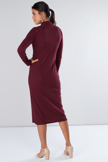 Textured Midi Dress with High Neck and Long Sleeves