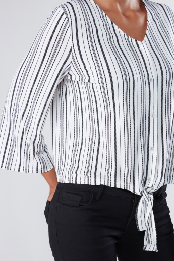 Striped Shirt with 3/4 Sleeves and Tie Ups