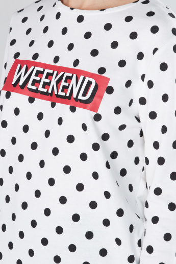 Polka Dot Printed Sweatshirt with Round Neck and Long Sleeves