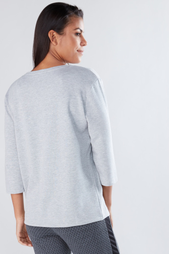 Printed T-shirt with Round Neck and 3/4 Sleeves