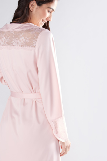 Lace Detail Robe with Long Sleeves and Tie Up Belt