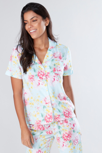 Printed Short Sleeves Shirt and Pyjama Set