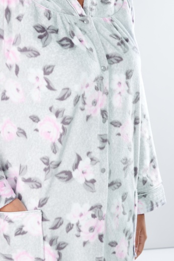 Printed Sleep Dress with Long Sleeves and Pocket Detail