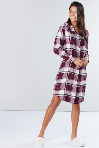 Chequered Sleepshirt with Long Sleeves and Complete Placket