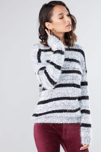 e060f444bb5b Textured Sweater with Boat Neck and Long Sleeves