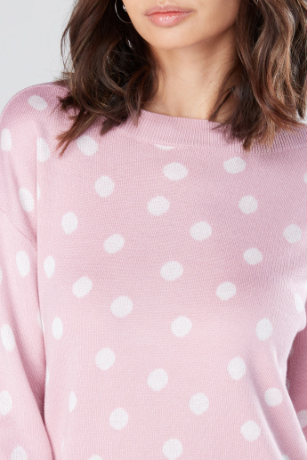 Polka Dot Printed Sweater with Drop Shoulder Sleeves