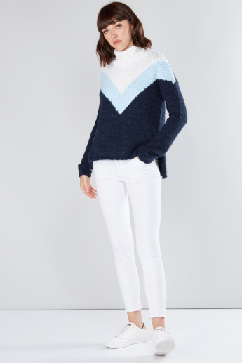 Textured High Neck Long Sleeves Sweater
