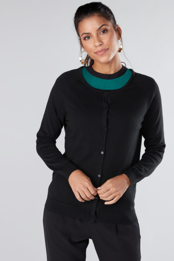 Round Neck Cardigan with Raglan Sleeves
