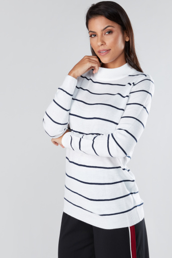 Striped Sweater with High Neck and Long Sleeves
