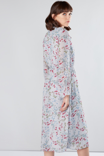 Floral Printed Dress with Pussy Bow and Long Sleeves