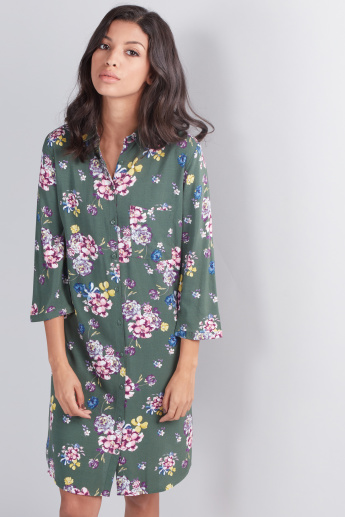 Printed Shirt Dress with 3/4 Sleeves and Complete Placket