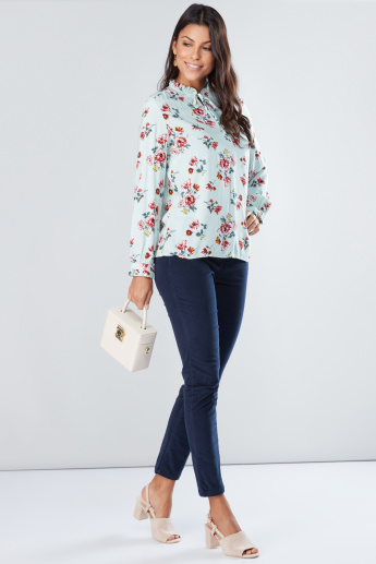 Floral Printed Top with Long Sleeves and Tie Ups
