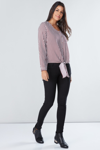 Striped Asymmetric Shirt with Long Sleeves and Tie Ups