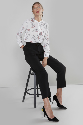 Floral Printed Blouse with Long Sleeves and Knot Detail