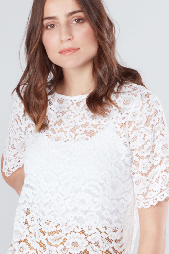 Lace Top with Round Neck and Short Sleeves