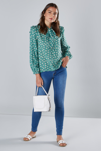 Floral Printed Kitty Bow Top with Long Sleeves