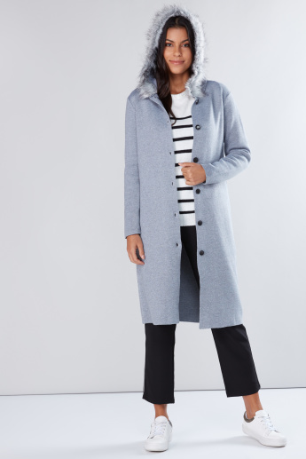Textured Longline Jacket with Button Placket and Long Sleeves