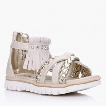 Fringed Sandals with Straps and Zip Closure