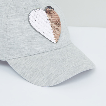 Sequin Detail Cap with Hook and Loop Closure