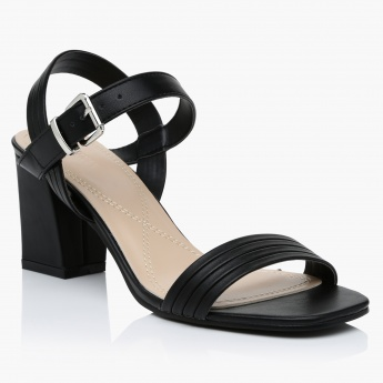 High Heel Sandals with Buckle Closure